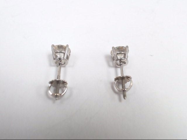 Gold-Diamond Earrings 2 Diamonds 1.00 Carat T.W. 14K White Gold 0.7g