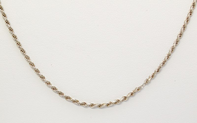 """20"""" Sterling Silver Rope Chain Necklace"""
