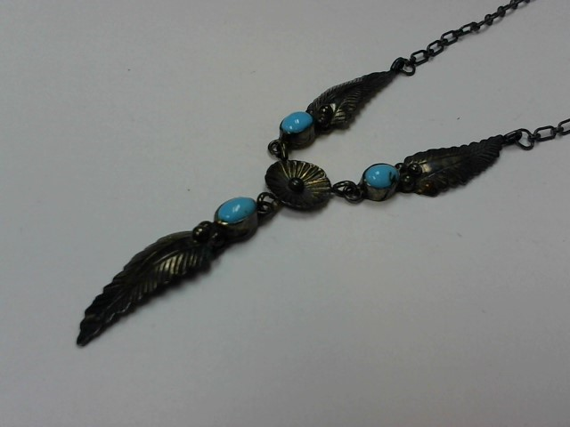 Turquoise Stone Necklace 925 Silver 10.5g