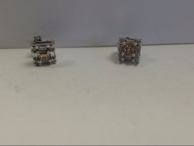 Gold-Diamond Earrings 18 Diamonds .42 Carat T.W. 10K White Gold 1.71g