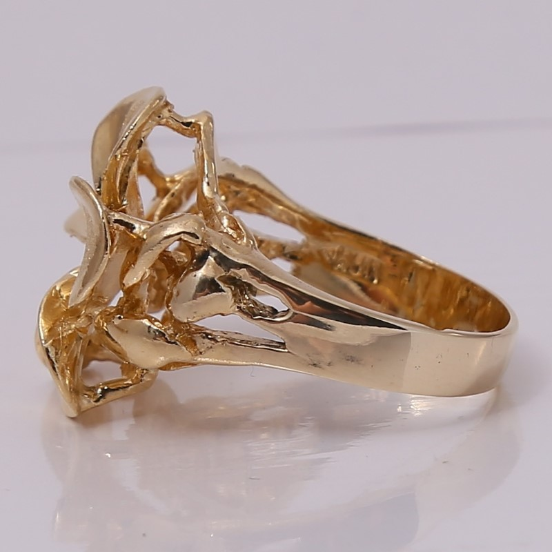 14K Yellow Gold Dogwood Flower Statement Ring Size 8.25