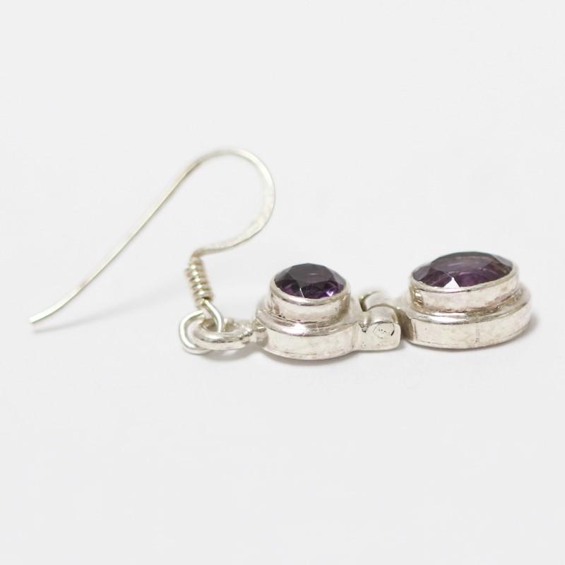 Sterling Silver Oval Cut Amethyst Drop Earrings
