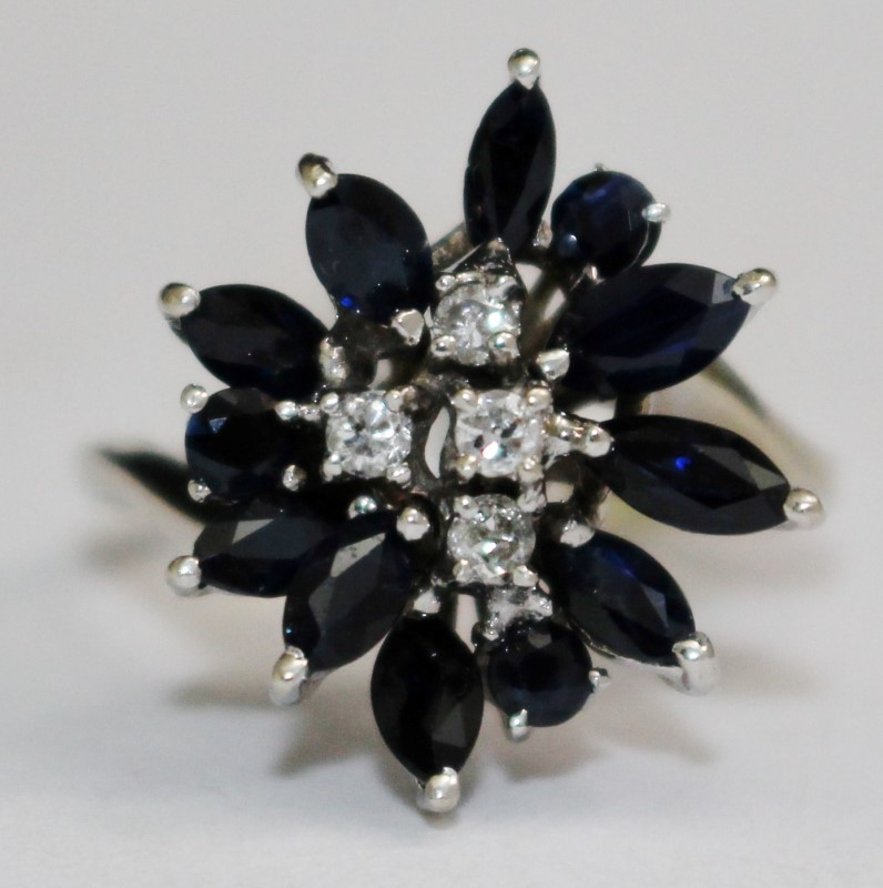 Cluster Diamond and Sapphire Ring Set in 14K White Gold Size 8.5