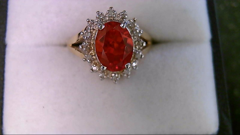 Genuine Mexican Fire Opal & Diamond 14K Yellow Gold Ring SZ 6.75