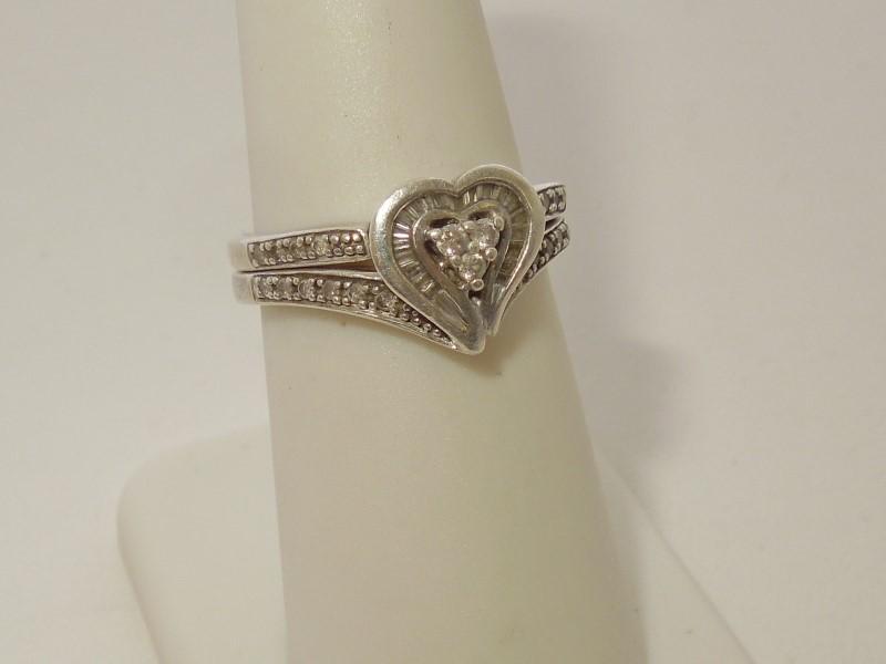 Lady's Silver-Diamond Ring 43 Diamonds .46 Carat T.W. 925 Silver 4.8g Size:7