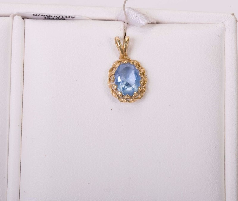 Aquamarine Gold-Stone Pendant 14K Yellow Gold 0.09g