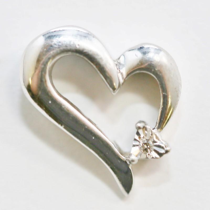 Sterling Silver Heart & Round Brilliant Diamond Pendant