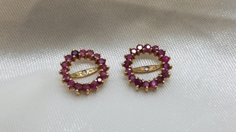 Pink Stone Earring Jackets Gold-Stone Misc. 14K Yellow Gold 0.9g