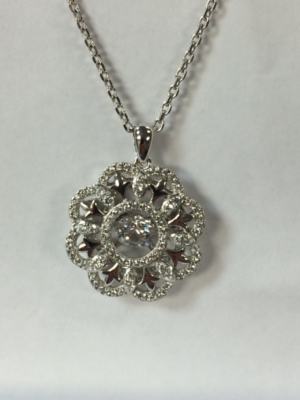 Synthetic Cubic Zirconia Silver-Stone Pendant 925 Silver 1.5g