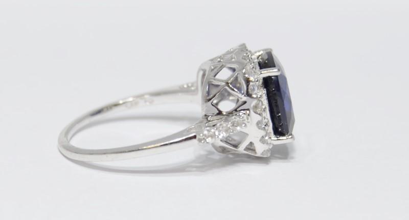 10K White Gold Cushion Cut Basket Set Created Sapphire & Diamond Halo Ring sz 7