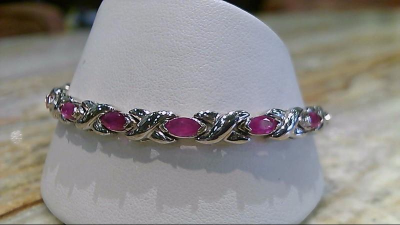 Genuine Marquis Ruby 14K White Gold Bracelet