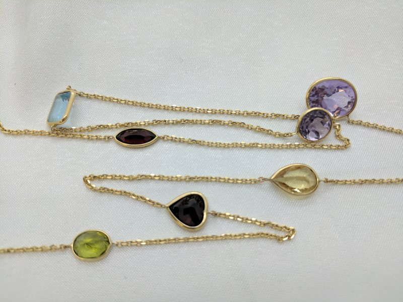 "30"" Purple Stone Stone Necklace 14K Yellow Gold 8.3g"
