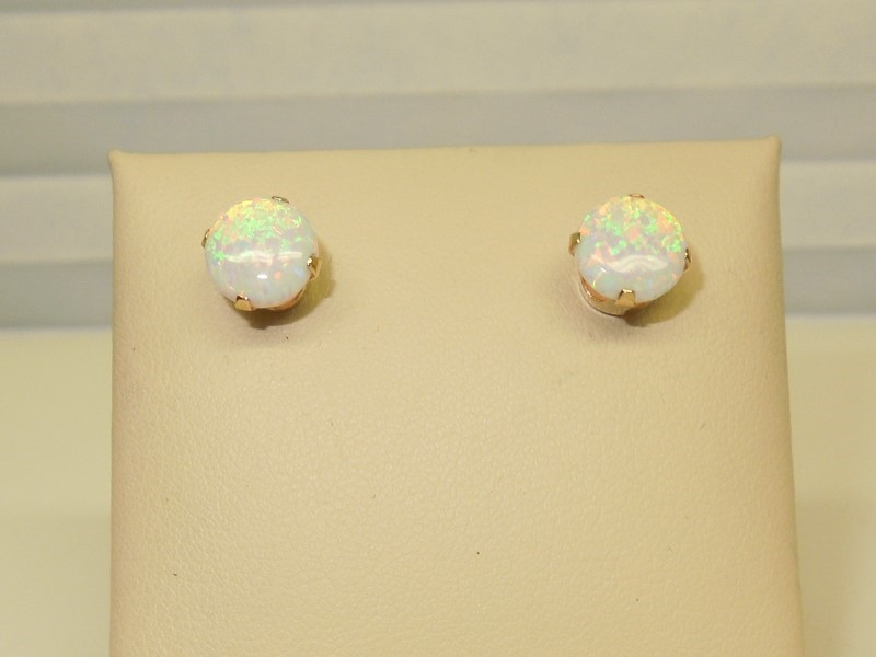Synthetic Opal Gold-Stone Earrings 14K Yellow Gold 1.2g