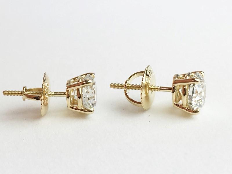 14KT YG DIAMOND STUD EARRINGS APX 1.30CTW