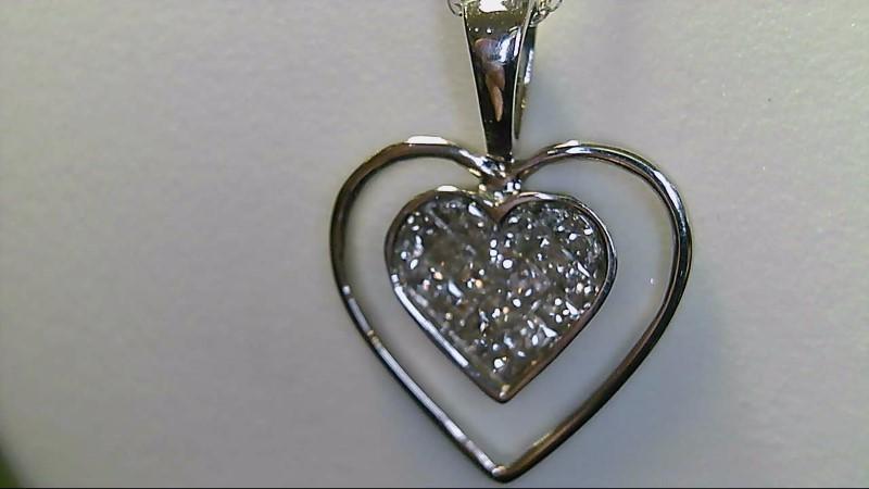 LADY'S 14K WG PRINCESS CUT DIAMOND HEART NECKLACE
