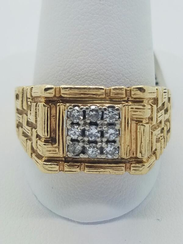 Gent's Diamond Cluster Ring 9 Diamonds .27 Carat T.W. 14K Yellow Gold 8.1dwt
