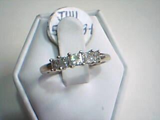 Lady's Gold-Diamond Anniversary Ring 5 Diamonds .75 Carat T.W. 10K White Gold