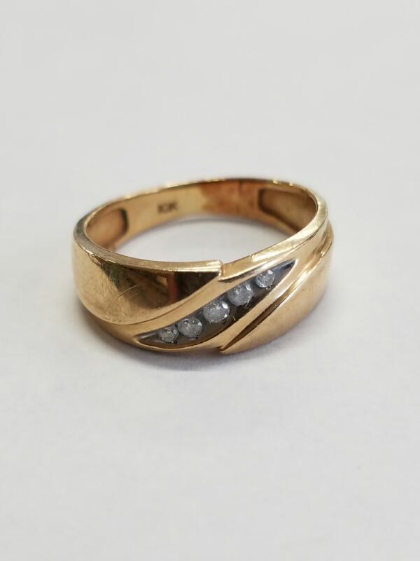 GENTS 10KT Gent's Gold-Diamond Wedding Band DIAMOND 5 Diamonds .05 Carat T.W.