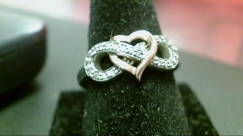 Lady's Silver-Diamond Ring 22 Diamonds .22 Carat T.W. 925 Silver 3.2g
