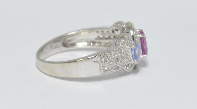 14K White Gold Pink Sapphire, Tanzanite, & Diamond Ring Size 10
