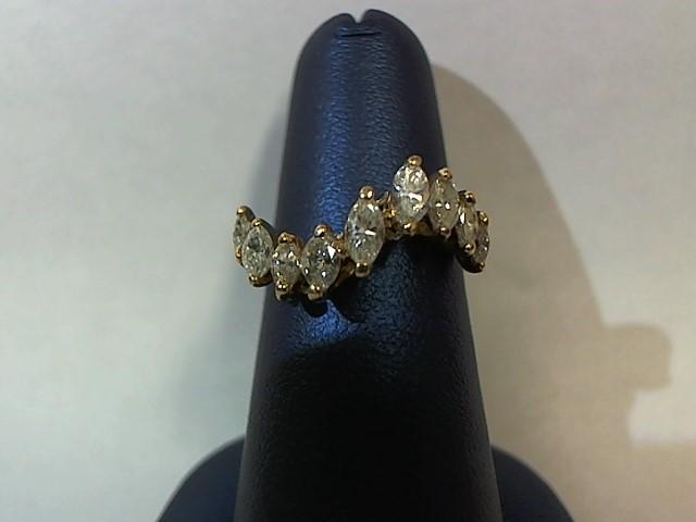 Lady's Diamond Fashion Ring 9 Diamonds .95 Carat T.W. 14K Yellow Gold 2g