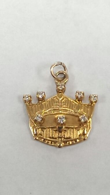 14K GOLDEN CROWN W/8 (.01) ROUND WHITE DIAMONDS, 1.8 GRAMS, VERY GOOD SHAPE