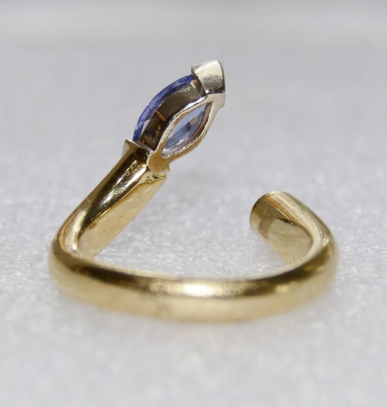 14K Yellow Gold V Tip Marquise Tanzanite & Bezel Set Diamond Open Wrap Ring sz 7