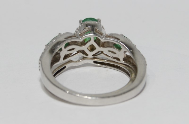 Sterling Silver Oval & Pear Emerald & Diamond 3-Stone Wedding Ring Set Sz 7
