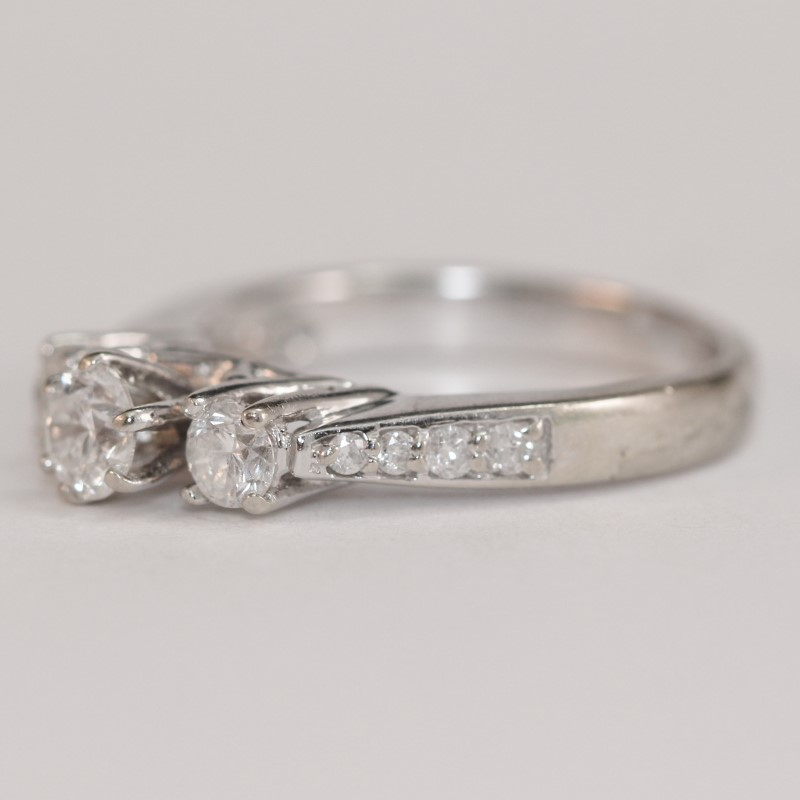 14K W/G 3 Stone & Channel Set Diamond Engagement Ring Size 5.5