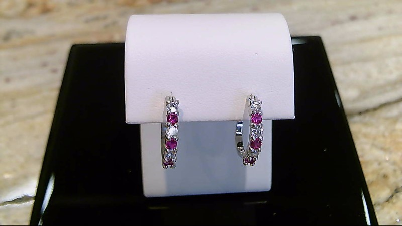 Lady's sterling silver 925 red and white cubic zirconia earrings
