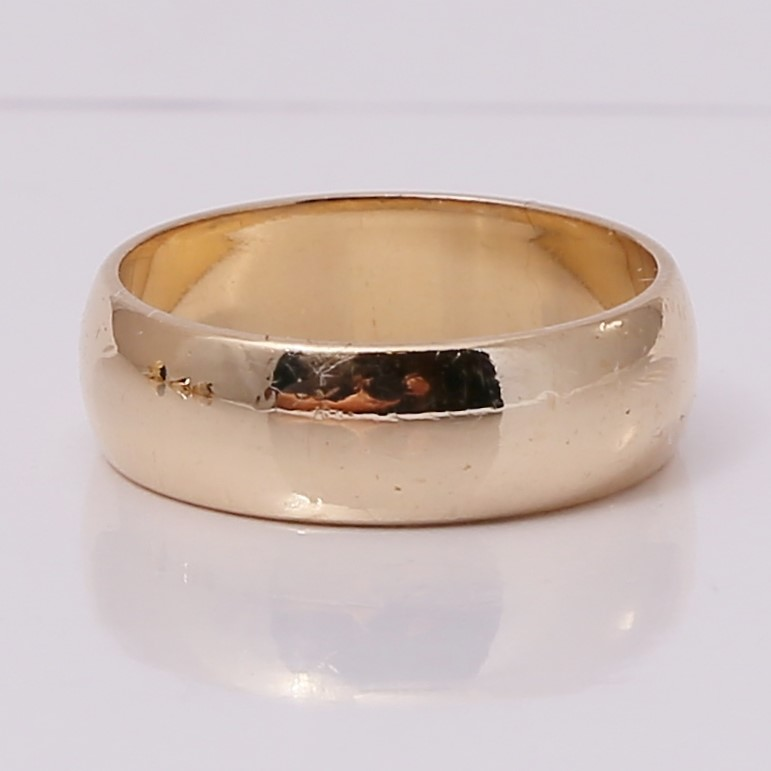 14K Yellow Gold Matte Comfort Fit Wedding Band Size 6.5