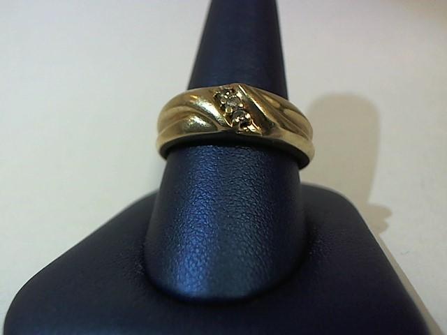 Gent's Diamond Solitaire Ring 3 Diamonds .06 Carat T.W. 10K Yellow Gold 9.7g