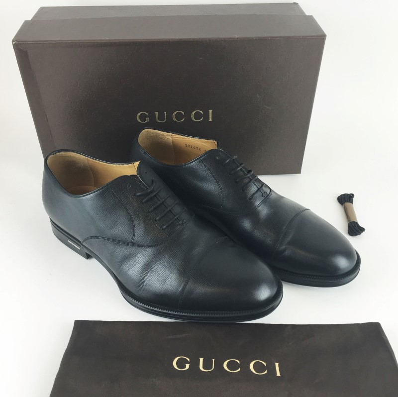 GUCCI Shoes/Boots 322474 BLACK LEATHER LACE UP SHOE SZ 13