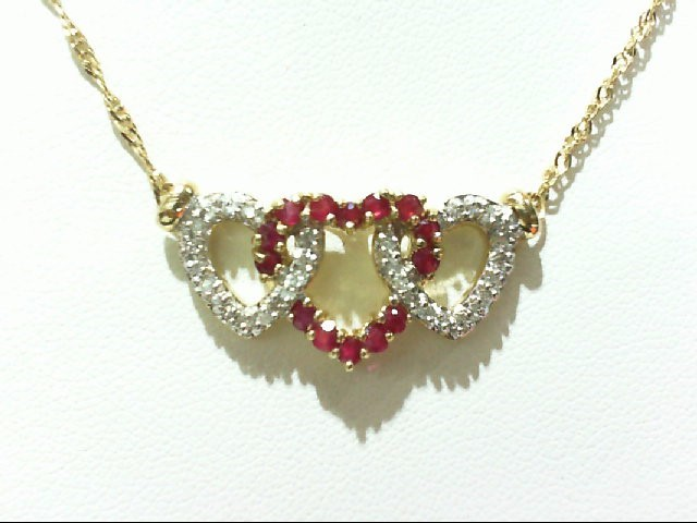Ruby Gold-Diamond & Stone Pendant 31 Diamonds .31 Carat T.W. 14K Yellow Gold