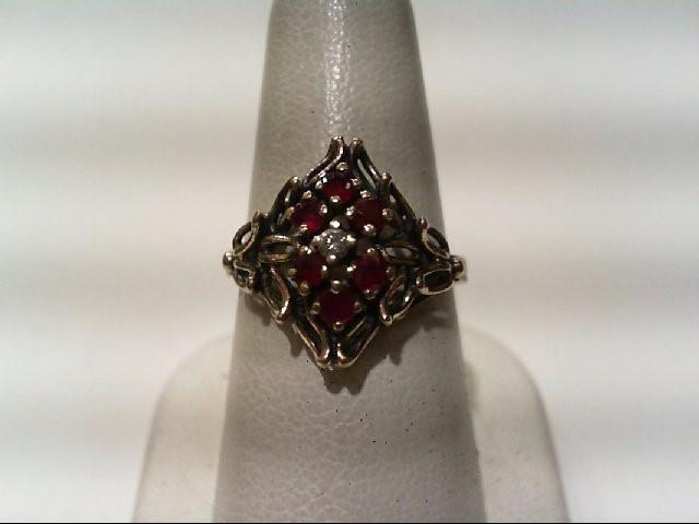 Ruby Lady's Stone & Diamond Ring .05 CT. 14K Yellow Gold 3.7g