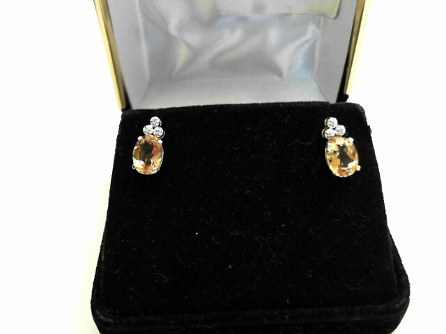 Synthetic Citrine Gold-Diamond & Stone Earrings 6 Diamonds .030 Carat T.W.