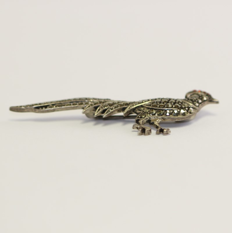 Antique Silver Brooch Bird with Marqusite Red and Green stones