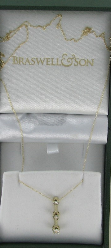 Diamond Necklace 3 Diamonds .45 Carat T.W. 1dwt