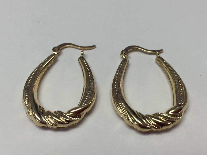 """14K Yellow Gold Vintage Inspired Milgrain Scroll Oval Hinged Hoop Earrings 1"""""""
