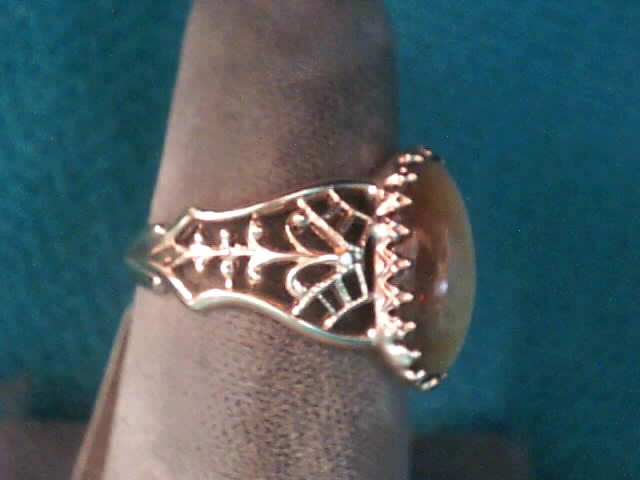 Brown Stone Lady's Stone Ring 10K Yellow Gold 2.1dwt