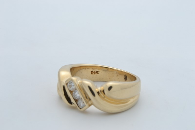 ESTATE 3 DIAMOND RING BAND SOLID 14K YELLOW GOLD MEN WEDDING HEAVY 7