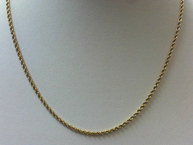 """18"""" Gold Rope Chain 14K Yellow Gold 7.6g"""