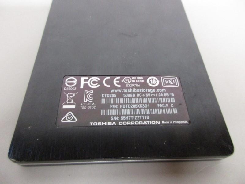 TOSHIBA CANVIO SLIM II 500GB EXTERNAL H.D.