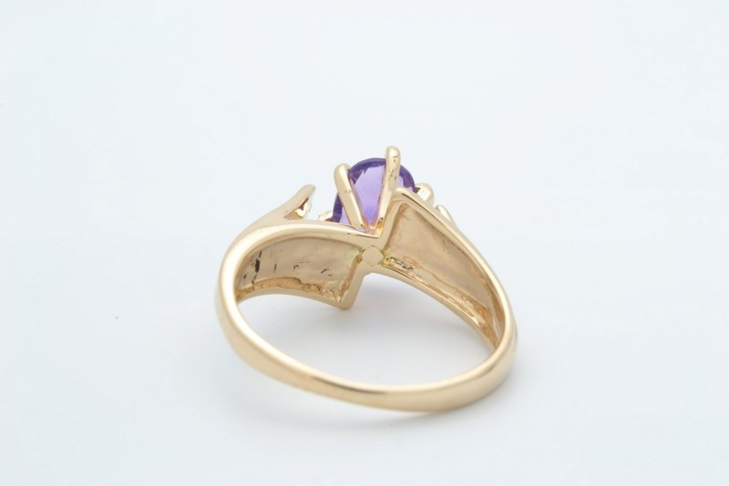 ESTATE AMETHYST PURPLE RING SOLID 14K YELLOW GOLD OVAL CUT SIZE 4.5
