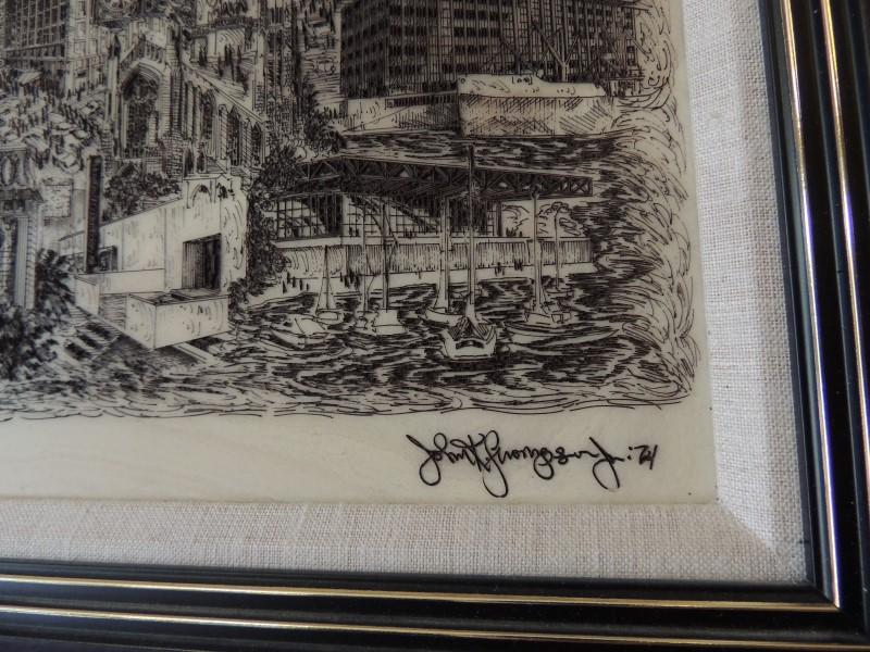 JOHN K THOMPSON JR CHICAGO SCENE ETCHED MARBLE FRAMED COA LIM ED