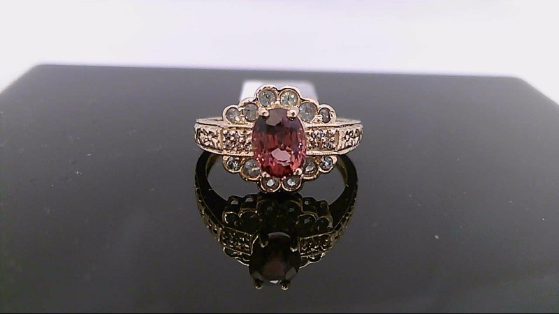 Pink Tourmaline Lady's Stone & Diamond Ring 6 Diamonds .030 Carat T.W.