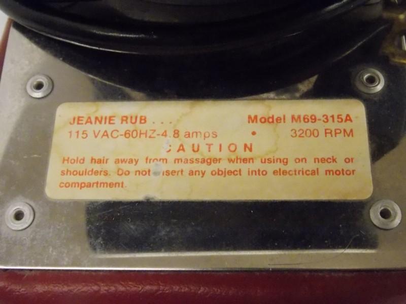 MORFAM JEANIE RUB MASSAGER, MODEL M69-315A