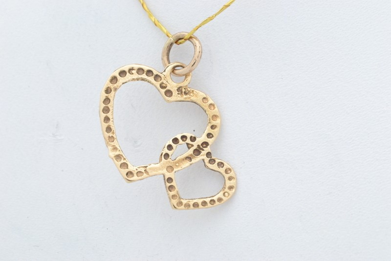 ESTATE TWIN HEART CHARM PENDANT SOLID 14K GOLD LOVE DOUBLE PROMISE