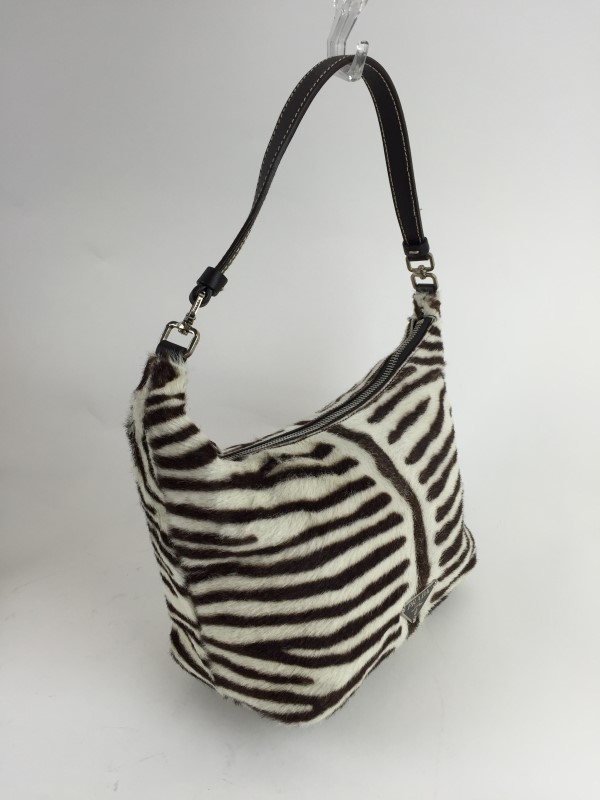 PRADA Handbag CALF HAIR ZEBRA SHOULDER BAG BIANCO MORO