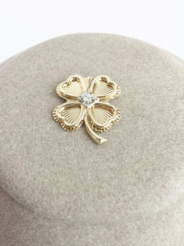 Diamond 10kt 4 Leaf Clover Pin Brooch 4.3g